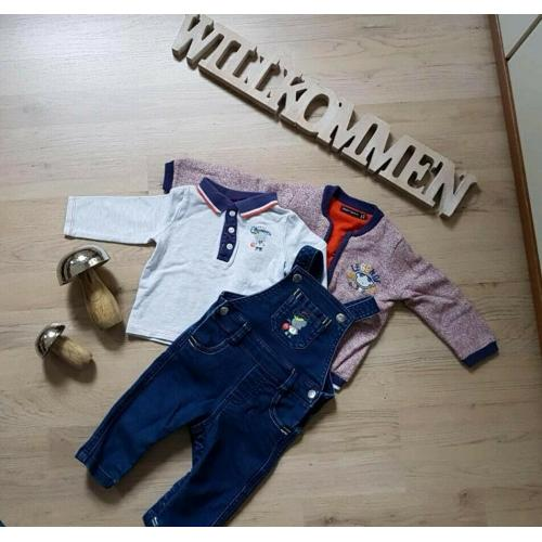 ? Sergent major ? 3tlg Outfit Strickjacke Shirt Latzhose Gr 68